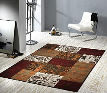 Patchwork Mat With Velveteen And Colors Red/Terracotta/Brown/Beige/Brown  Modern