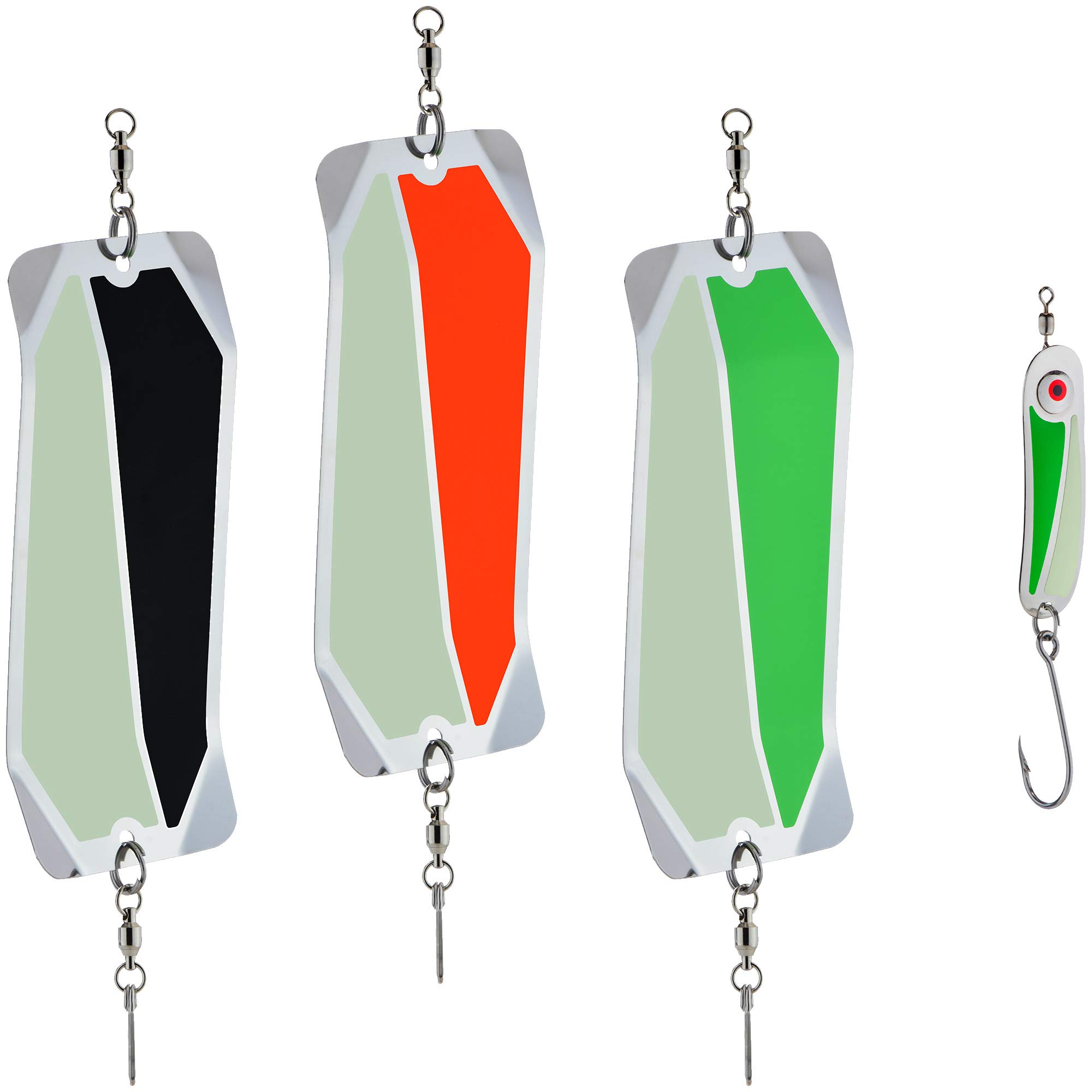 PEETZ Stryke Zone 7-Inch 'Dirty Water' Fishing Dodger 3-Pack + Bonus Spoon Lure | Stainless Steel | Darting Action for Kokanee Fishing