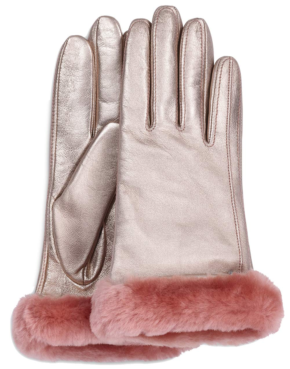UGG Womens Classic Leather Shorty Tech Glove, Rose Gold, Size Large