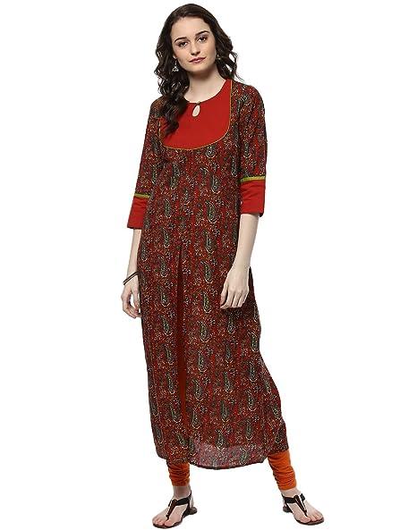 Rust Orange /& Green Printed A Line Anarkali Kurta Indian Designer Kurti Tunic