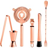 Oggi 6 Piece Stainless Steel Bartender Accessories Set-Includes Stir-Stick, Muddler, Peeler, Double Jigger, Ice Strainer and Tongs, Copper