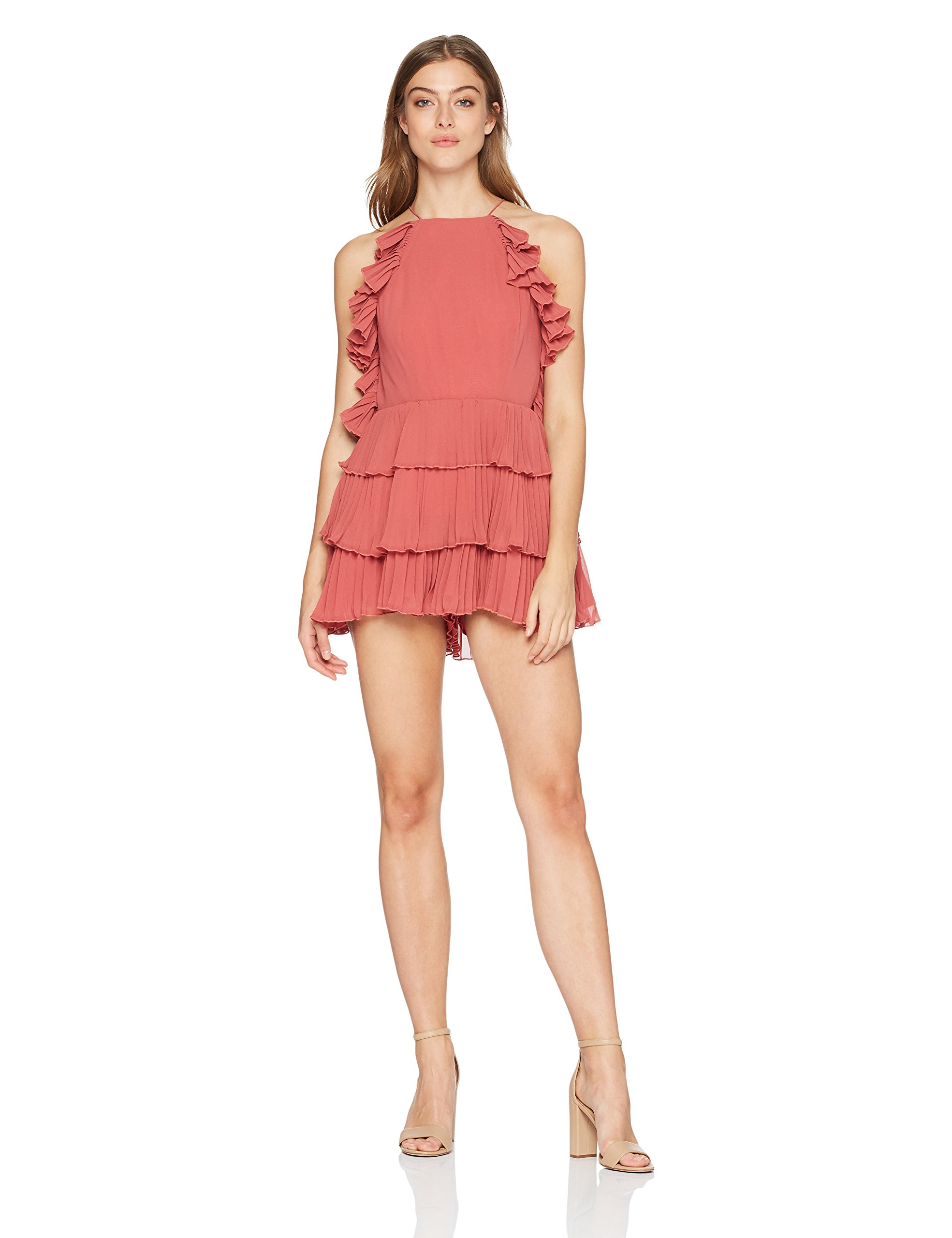 Keepsake The Label Women's Say something Sleeveless Romper Playsuit, Mineral Red, L