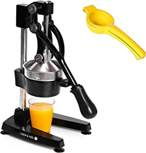 Crew & Axel Citrus Juicer - Manual Orange Juice Squeezer – Heavy Duty Cast Iron Commercial Grade Pomegranate Grapefruit Lemon Lime Juicer Maker + Lemon Squeezer Press W Anti Slip Suction Cup Base Black