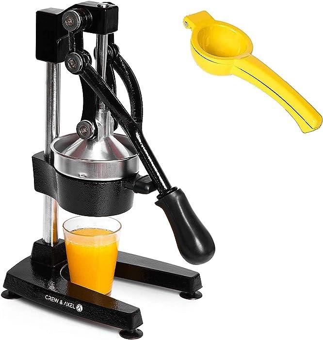 Crew & Axel Citrus Juicer - Manual Orange Juice Squeezer – Heavy Duty Cast Iron Commercial Grade Pomegranate Grapefruit Lemon Lime Juicer Maker + Lemon Squeezer Press W Anti Slip Suction Cup Base Black