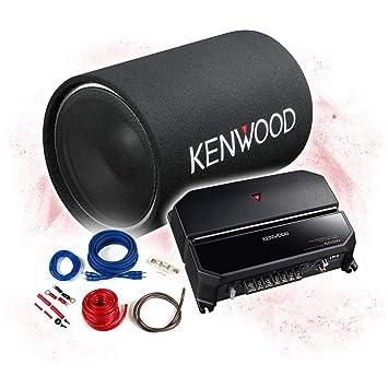 Kenwood Bass del Paquete de 2 Canales Amplificador/Amplificador + 30 cm Subwoofer + Set de Cables - 1200 W/KSC de w1200t - KAC-5205 ps702ex + REN10KIT: ...