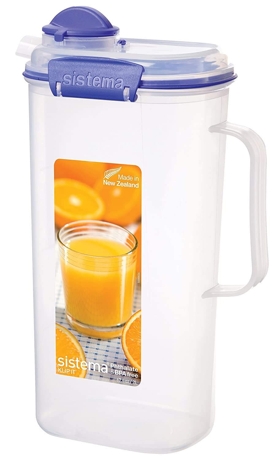 Sistema KLIP IT Utility Collection Juice Pitcher, 67.6 oz./2.0 L, Clear/Blue