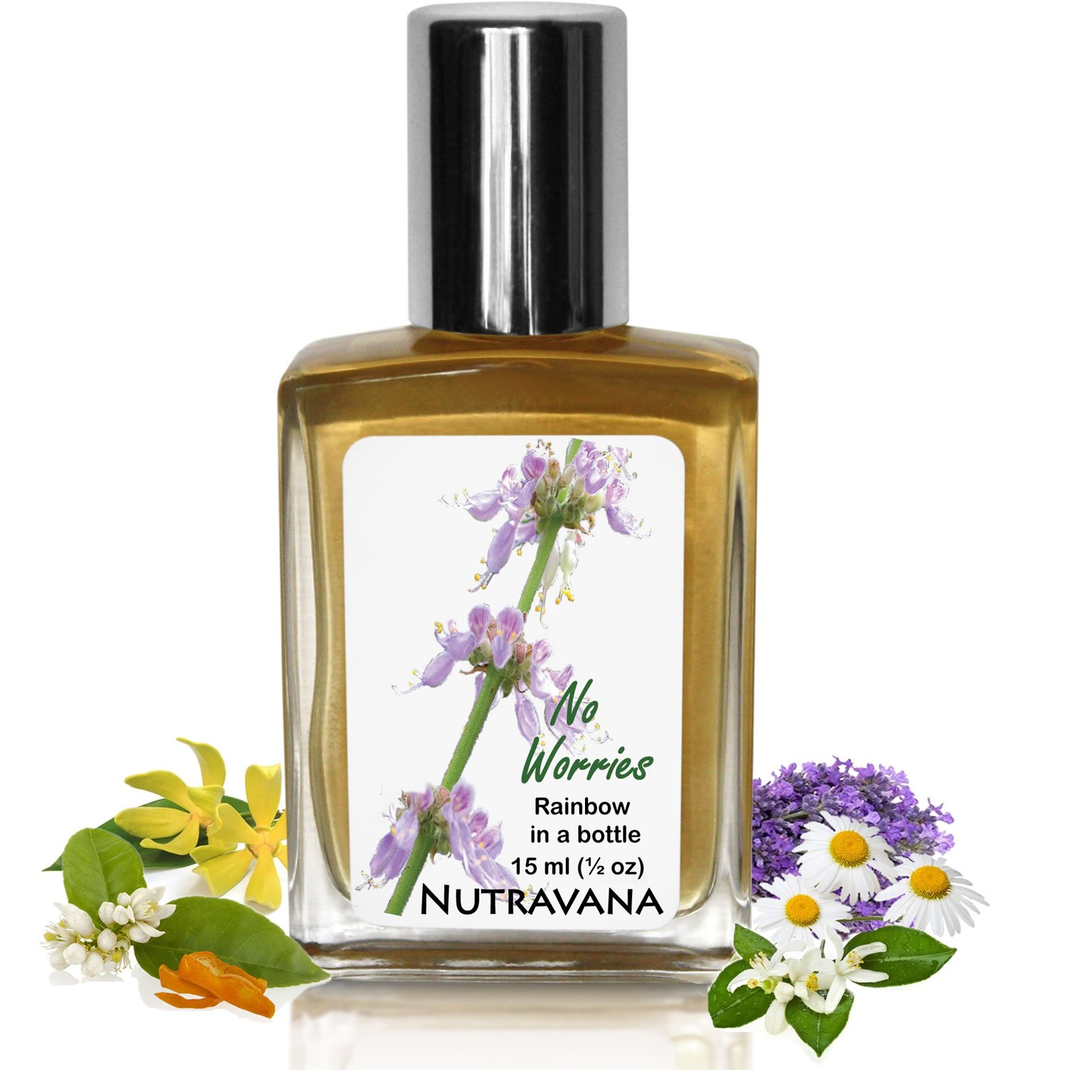 No Worries -Mood Lifting, Calming, Natural Anxiety Stress Relief Essential Oil Blend Embrace Life - Be Social, Increase Joy, Happiness Safe for Kids Nutravana -Ready to Roll-on Remedy -100% Guarantee