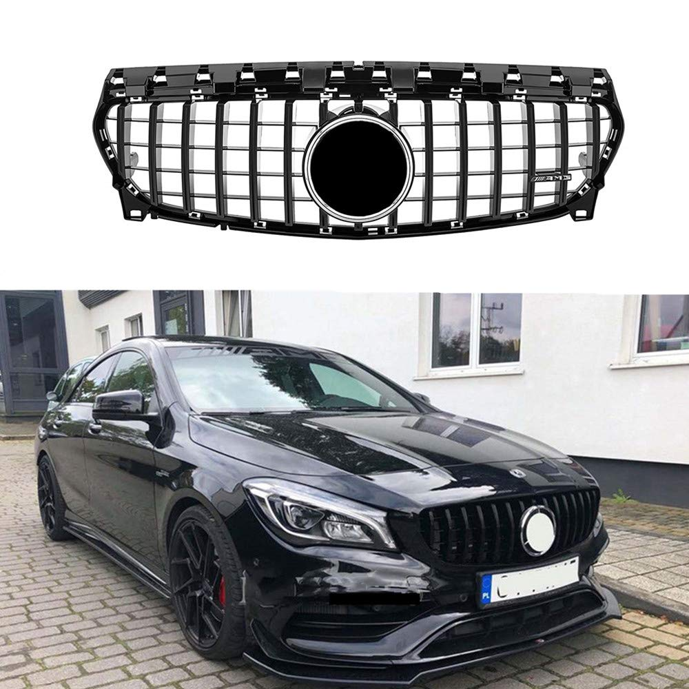 MotorFansClub GT R Panamericana Upper Insert W117 Grill Front Grille Fits for Mercedes Benz CLA Class CLA200 CLA250 CLA45 AMG 2013-2018 (Black)