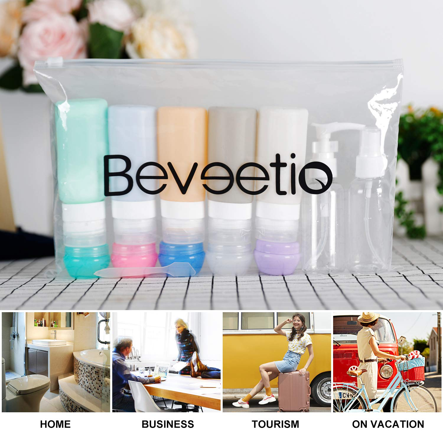 14 Pack Travel Bottles TSA Approved, Beveetio 2.9oz Leak Proof Travel Tubes, BPA Free Refillable Silicone Squeeze Bottles Toiletries Containers for Cosmetic Shampoo Conditioner Lotion Soap
