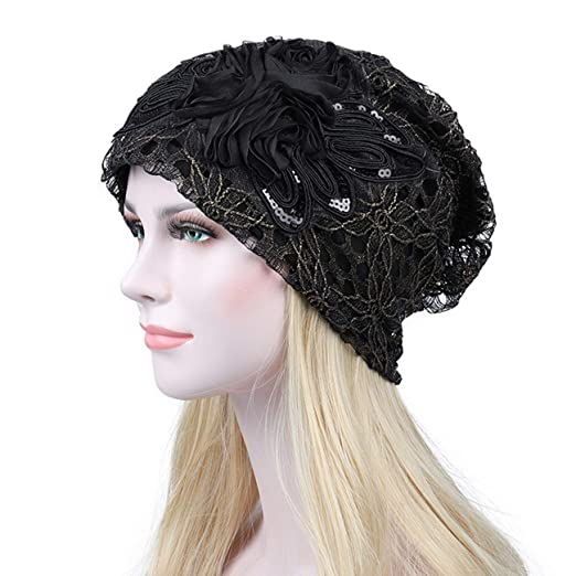77a1e86c4657c DancMolly Sequin Flower Lace Chemo Caps for Women Muslim Stretch Turban  Hair Loss Head Scarf Wrap