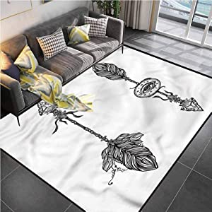 Area Rug Rugs Print Large Floor Mat Occult,Native American Elements Office Chair mat for Carpet for Living Dining Dorm Playing Room Bedroom 5'x8'