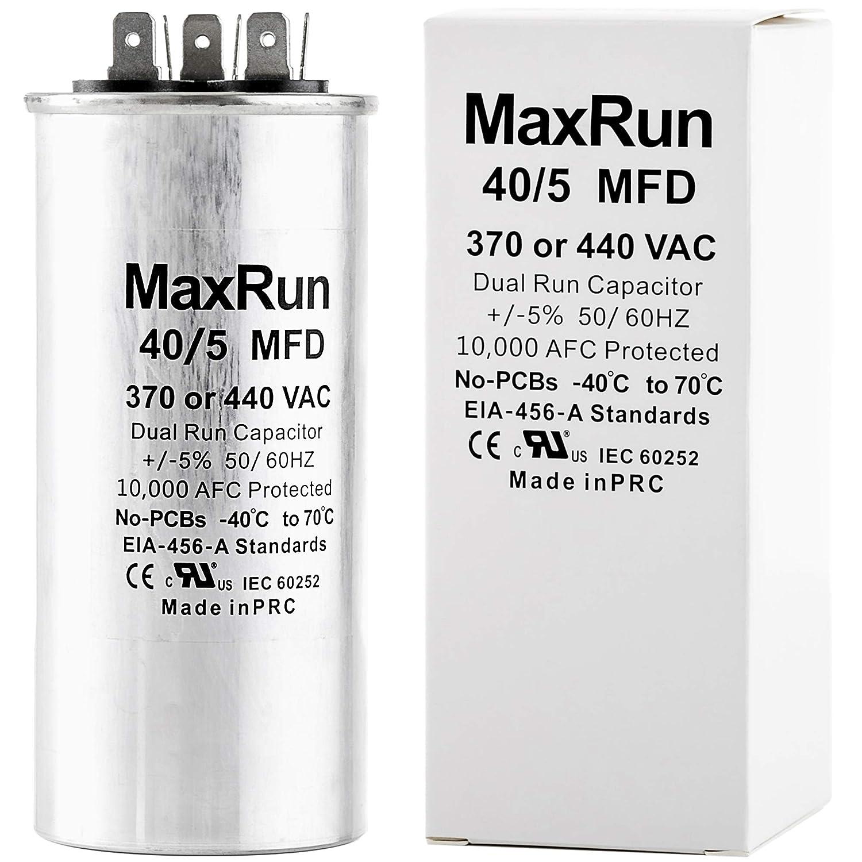 Amazon.com: MAXRUN 40+5 MFD uf 370 o 440 Voltios VAC Motor ...
