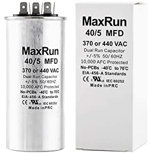 MAXRUN 40+5 MFD uf 370 or 440 Volt VAC Round Motor Dual Run Capacitor for AC Air Conditioner Condenser - 40/5 uf MFD 440V Straight Cool or Heat Pump - Will Run AC Motor and Fan - 1 Year Warranty