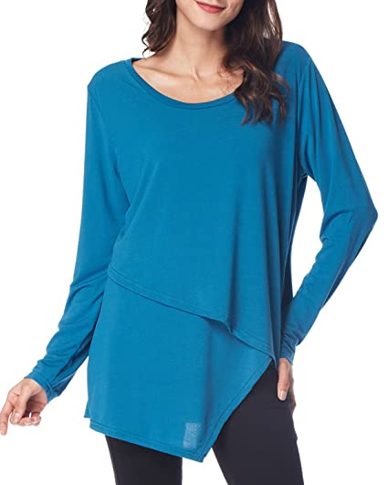 c240bb9f57c7fa GAMISS Woman Asymmetrical Blouse Long Sleeve Shirt Loose Fit Tees for  Leggings Tunic Top