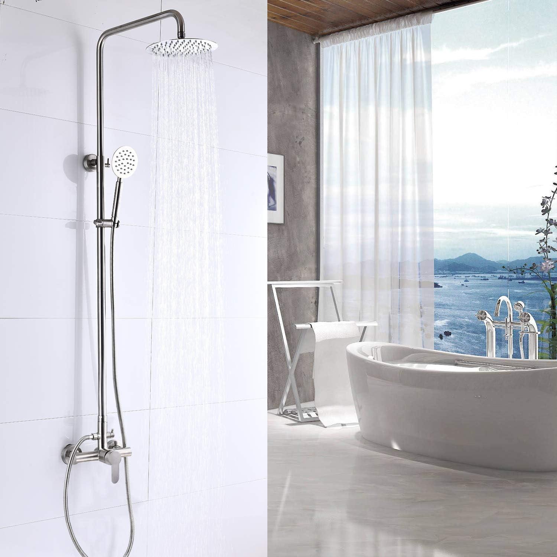 Outdoor Shower Fixture SUS304 Shower Faucet Combo Set Stainless Steel 8 Rainfall