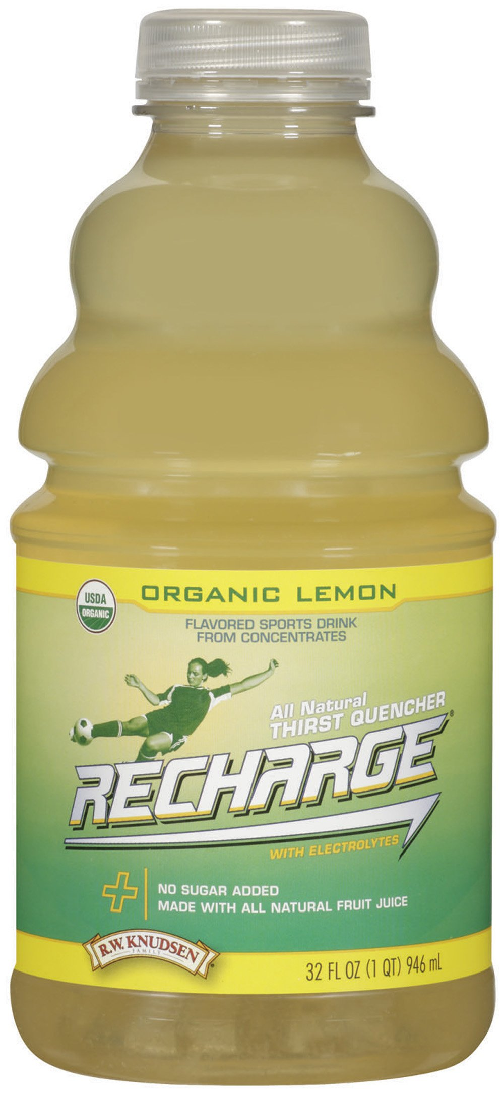 R.W. Knudsen Family Recharge Organic Lemon Flavored Sports Beverage Mix, 32 Ounce (Pack of 12)