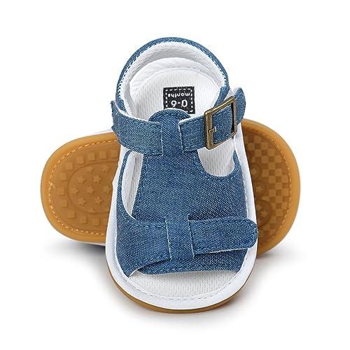 71e673fc0147 CoKate Newborn Baby Boy Crib Shoes Soft Sole Anti-Slip Jean Toddler Sneakers  (11CM