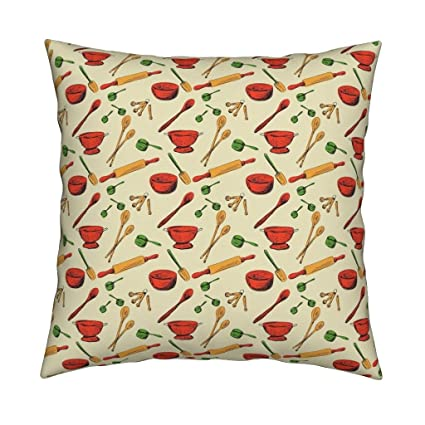 Roostery Retro Faux Suede Throw Pillow Cover Retro Kitchen Gadgets Pattern  By Diane555 Cover Only By
