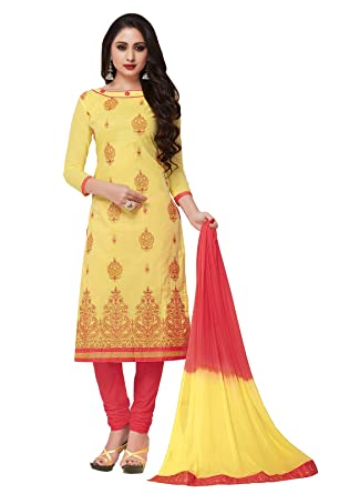 5dc6b8cdb1 Ishin Cotton Yellow & Red Embroidered Women's Unstitched Salwar Suits dress  material with Dupatta: Amazon.in: Clothing & Accessories