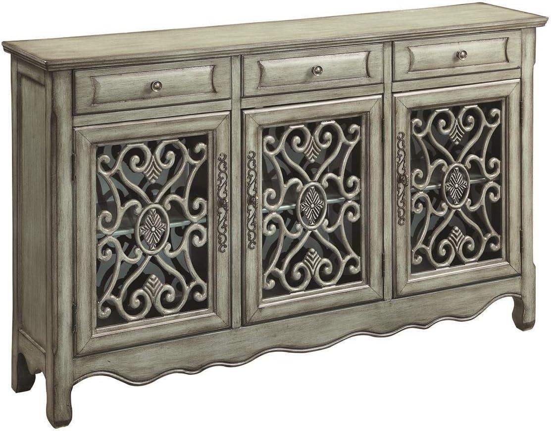 3-Door Accent Cabinet Antique Green