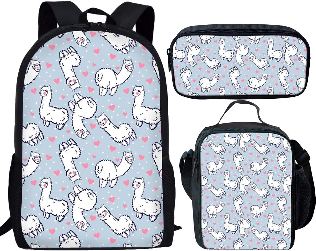 Showudesigns 3 Pieces Set School Backpack Bookbag+Small Lunch Box+Pencil Bag Holder for Kids Horse