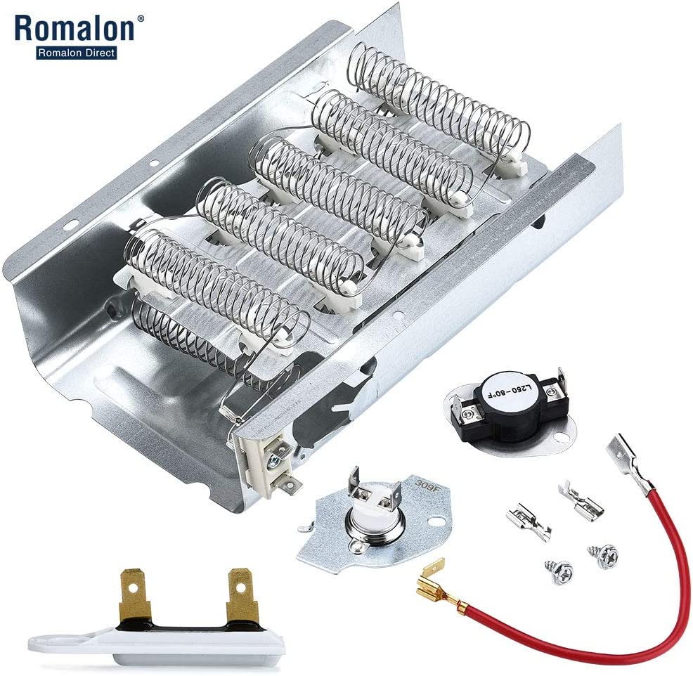 Romalon 279838 & 279816 Dryer Heating Element and Thermostat Kit & 3392519 Dryer Thermal Fuse Replacement for Whirlpool & Kenmore Dryers - Replaces 3403585 8565582 PS334313