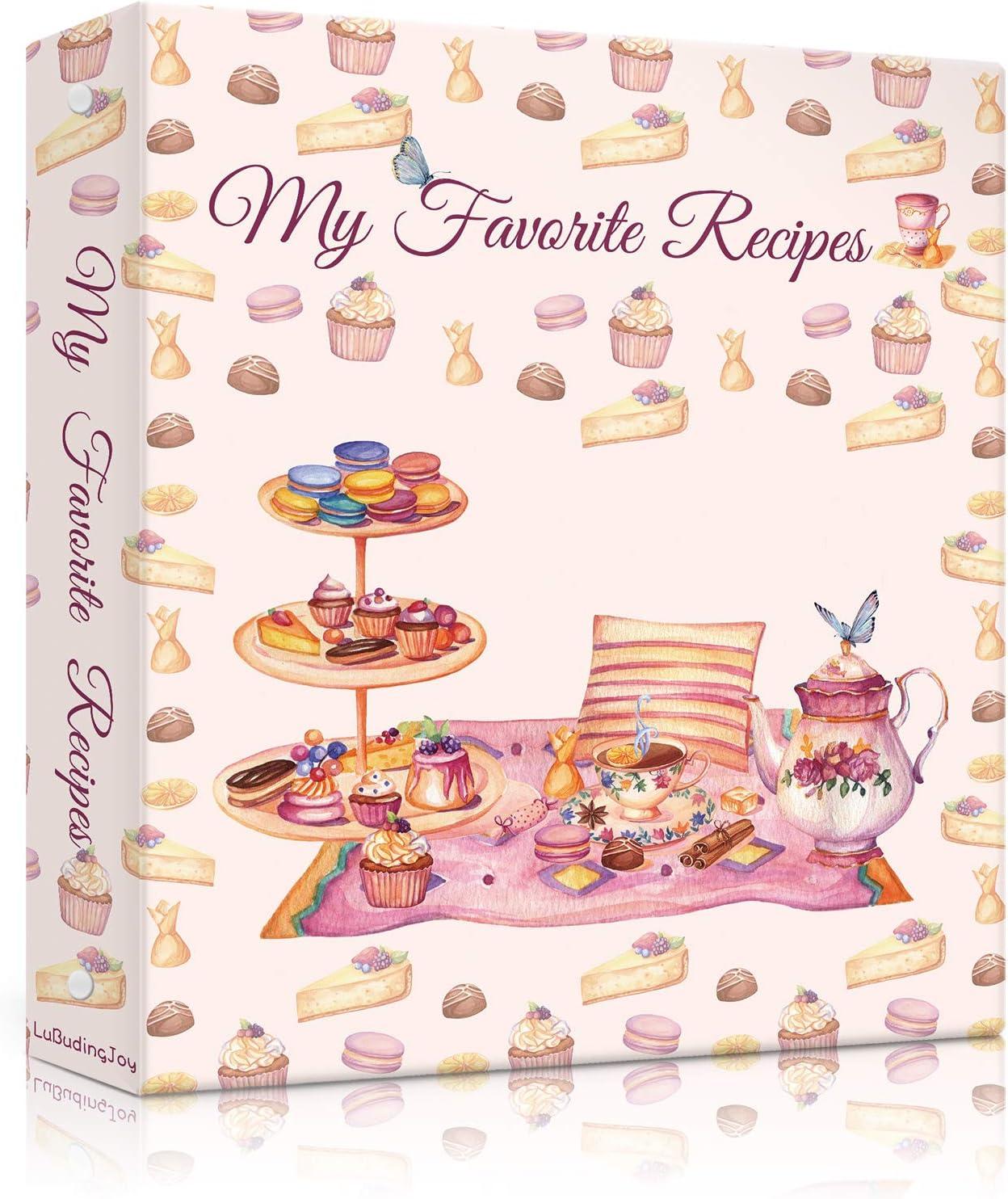 Lubudingjoy Recipe Book Binder, Hardcover 3 Ring Binder Cookbook Binder for Recipes, Create Your Recipe Binders, Recipe Binder with Cards, Sleeves and Dividers (Delicious Desserts)
