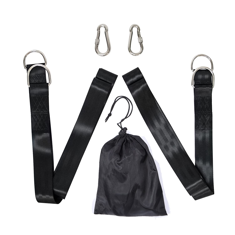 yorbay Set di ganci di fissaggio Set per amaca a dondolo Hanging Strap Kit con 2gancio Max 500kg (Nero moschettone + triangolo Anelli)