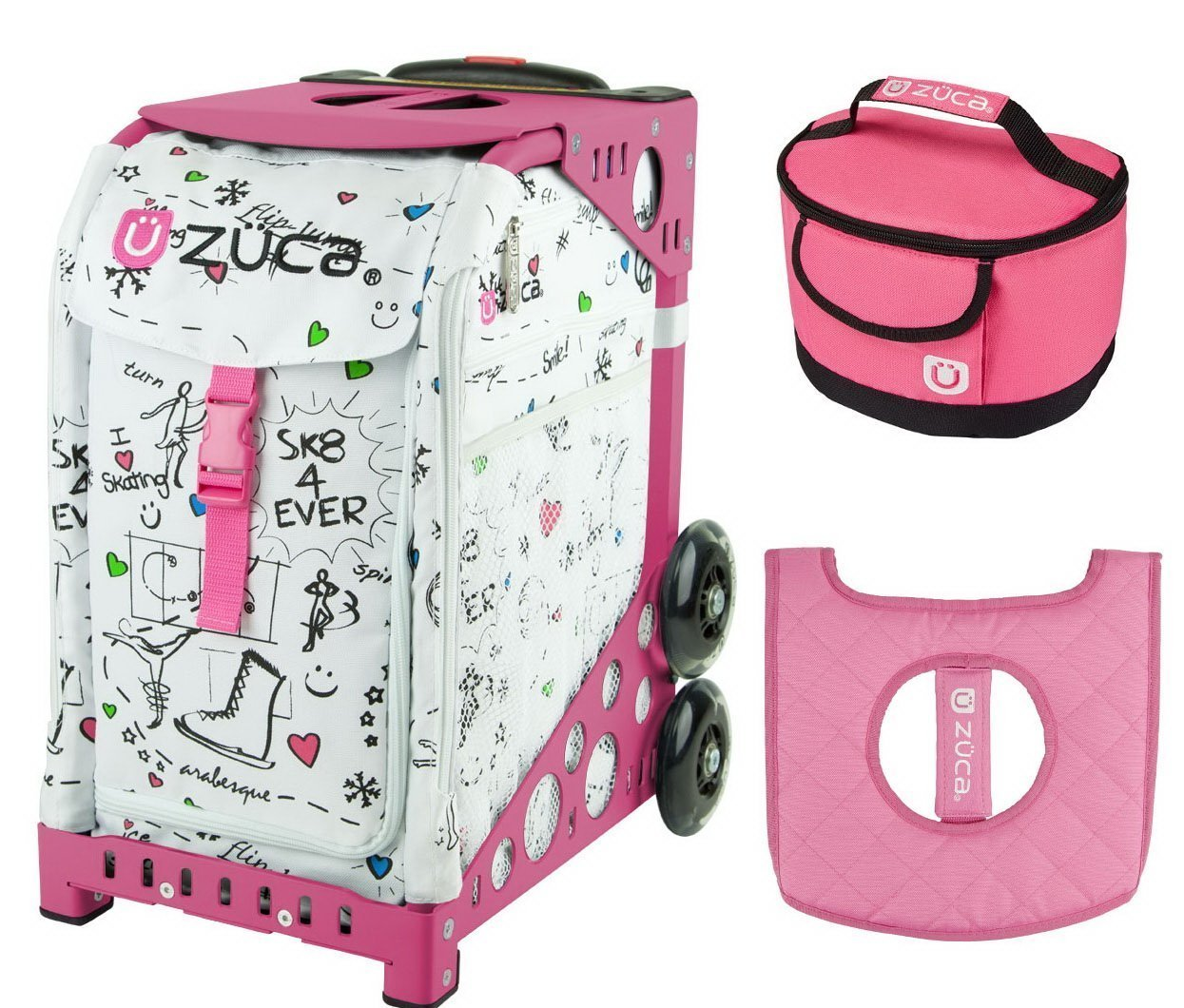 Zuca Sport Bag - SK8 with Gift Lunchbox and Seat Cover (Pink Frame)