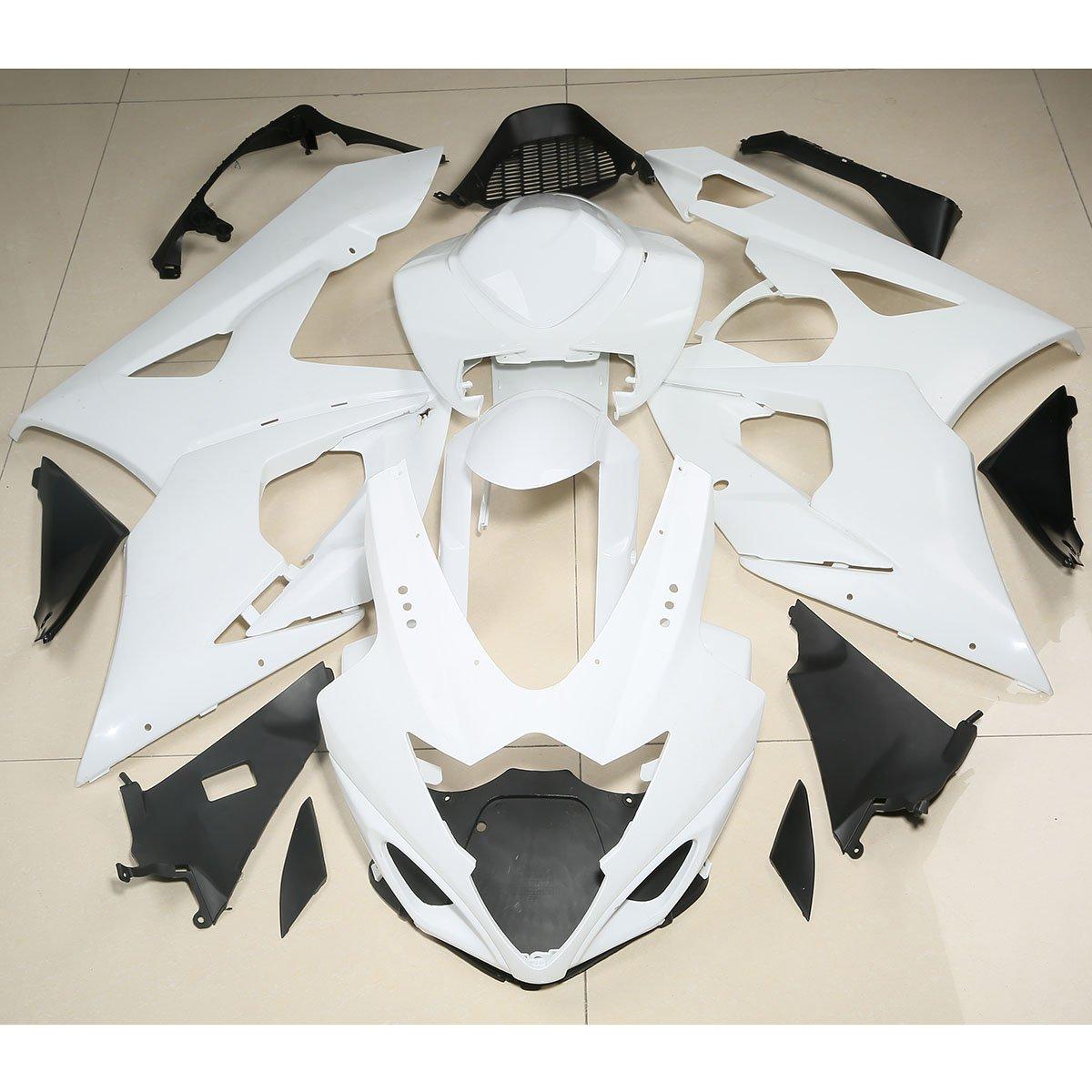 XFMT Motorcycle White Unpainted ABS Plastic Fairing Cowl Bodywork Set Compatible with Suzuki GSXR1000 GSX-R GSXR 1000 K5 2005 2006