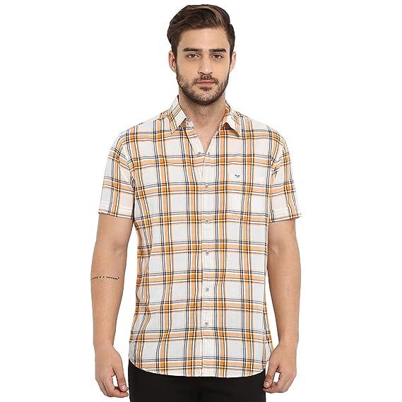 bed4cd57f1e Mufti Men s Checkered Slim fit Casual Shirt (MFS-9617-H Off  White-Peach Medium