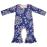 Toddler Little Girls Baby Christmas Romper Icing Ruffle Bottoms Long Sleeve Jumpsuit Playwear Pants Floral Printed Pajamas Nightwear Homewear Summer Fall Birthday Outfits Party Clothes Blue 3-6M