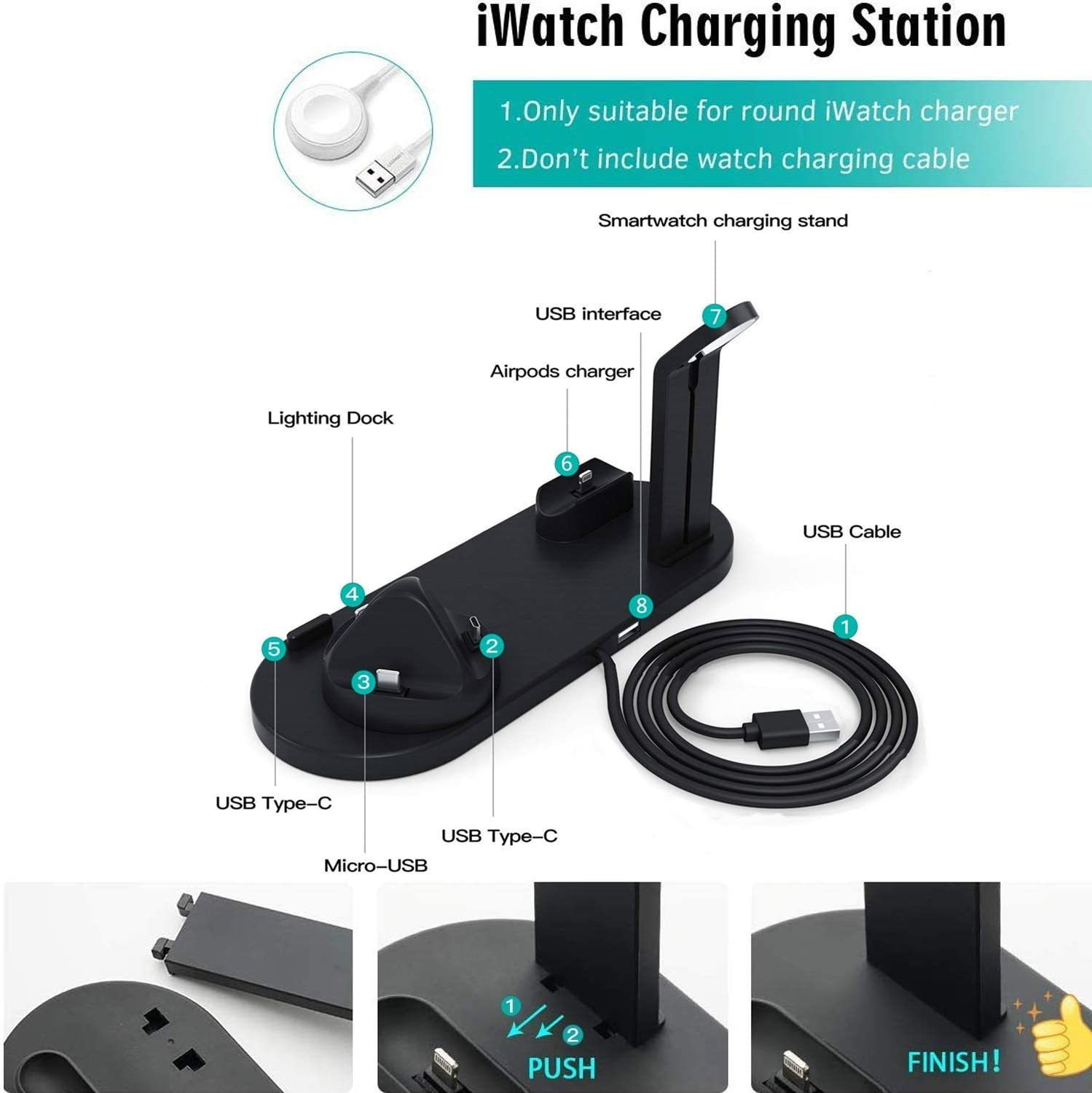 ATETION 3 in 1 Charging Stand Compatible with iWatch Series 5//4//3//2//1 Compatible for AirPods and iPhone 11//Xs//X Max//XR//X//8//8Plus//7//7 Plus //6S Plus Wireless Charger for Apple Watch