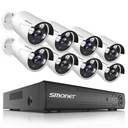 2019 New Outdoor Security Camera System,SMONET 8CH 1080N Home Security Camera System 1TB Hard Drive ,8pcs Security Cameras,Video Surveillance System for Easy Remote Monitoring,Super Night Vision