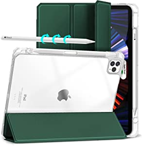 Hoidokly Magnetic Case for iPad Pro 11 Inch 2021(3nd)/2020 (2nd)/2018(1nd), Hard Back Protective Cover with Pencil Holder/Trifold Stand, Smart Clear Folio Case with Auto Wake/Sleep Fearture Dark Green