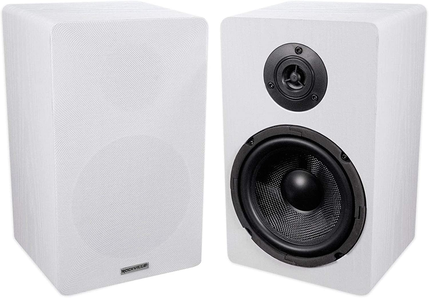 "Pair ROCKVILLE RockShelf 68W White 6.5"" Home Bookshelf Speakers W/Kevlar Woofers"
