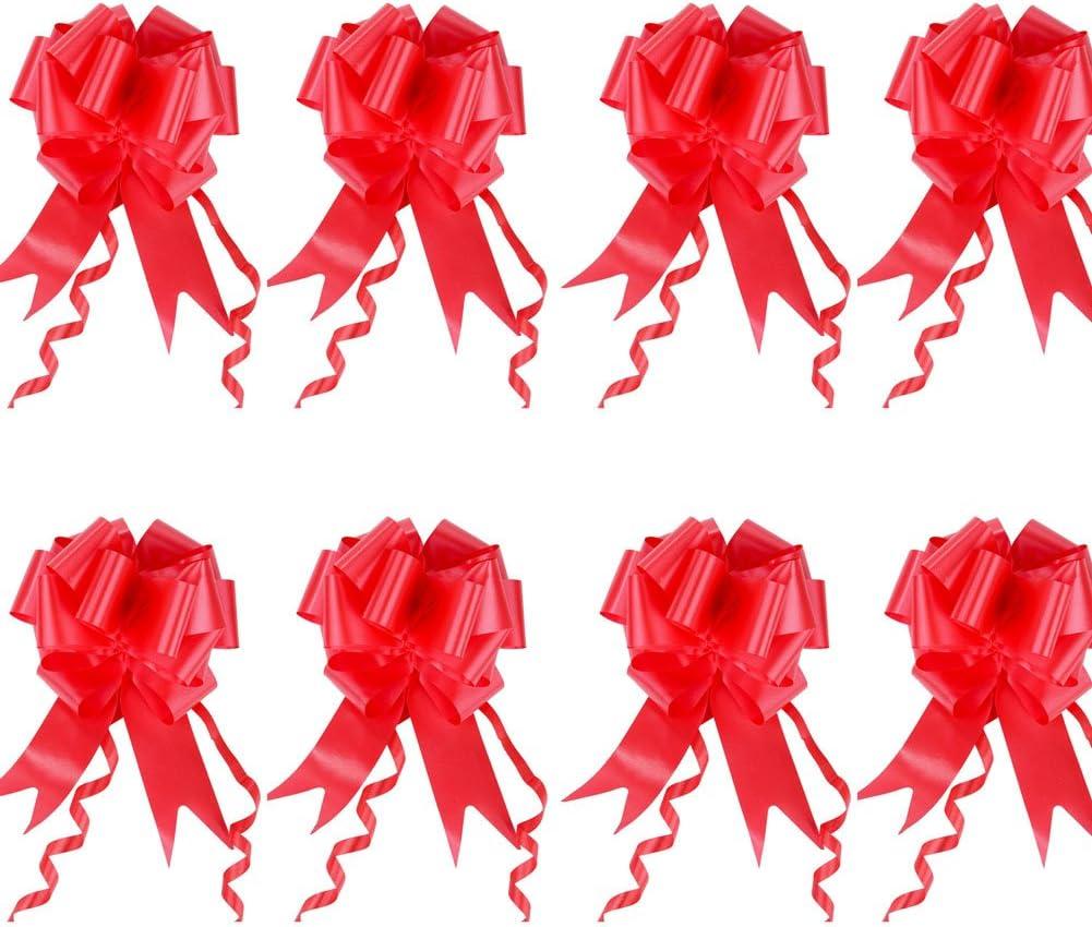 UniquQ 8 Piezas Lazos Regalos Grandes para Coche, Boda, Cumpleaños,Decoraciones para Fiestas, 4.5cm * 150cm (rojo)