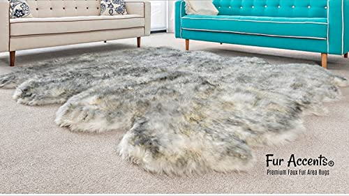 Fur Accents Plush Luxury Faux Fur Area Rug Thick Shaggy Octo Sheepskin – Arctic Wolf Off White with Black Tips – Designer Throw Rug USA