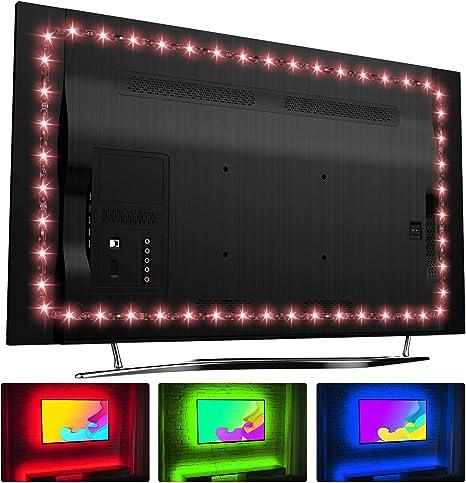HAMLITE LED TV Retroiluminación Bías de 65 Pulgadas Tira de luz LED USB para TV Pared Ambiente iluminación, Home Theater Decor, RF Remoto con 16 Colores, 20 Modos dinámicos: Amazon.es: Electrónica