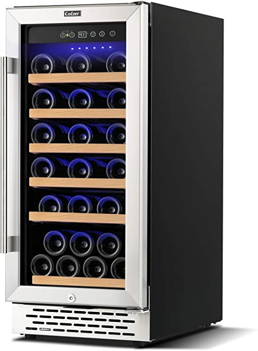 Amazon Com Colzer Upgrade 15 Inch Wine Cooler Refrigerators 32 Bottle Fast Cooling Low Noise And No Fog Wine Fridge With Professional Compressor Stainless Steel Digital Temperature Control Screen Built In Or Freestanding 41 F 72 F