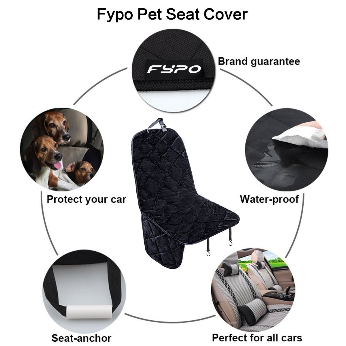 Fypo Dog Car Single Seat Covers, Front Waterproof Travel Booster Hammock Soft Protector Mat Blanket 41.7\