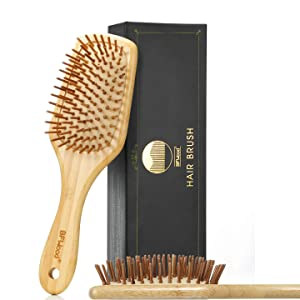 BFWood Bamboo Paddle Hairbrush with Bamboo Bristles for Massaging Scalp