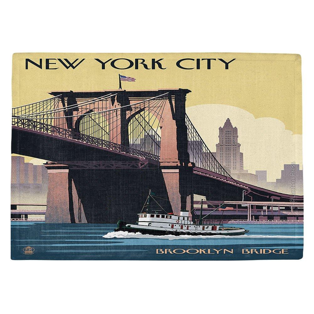 DIANOCHEキッチンPlaceマットbyランタン押しBrooklyn Bridge New York City Set of 4 Placemats PM-LanternPressBrooklynBridgeNew2 Set of 4 Placemats  B01EXSIRTU