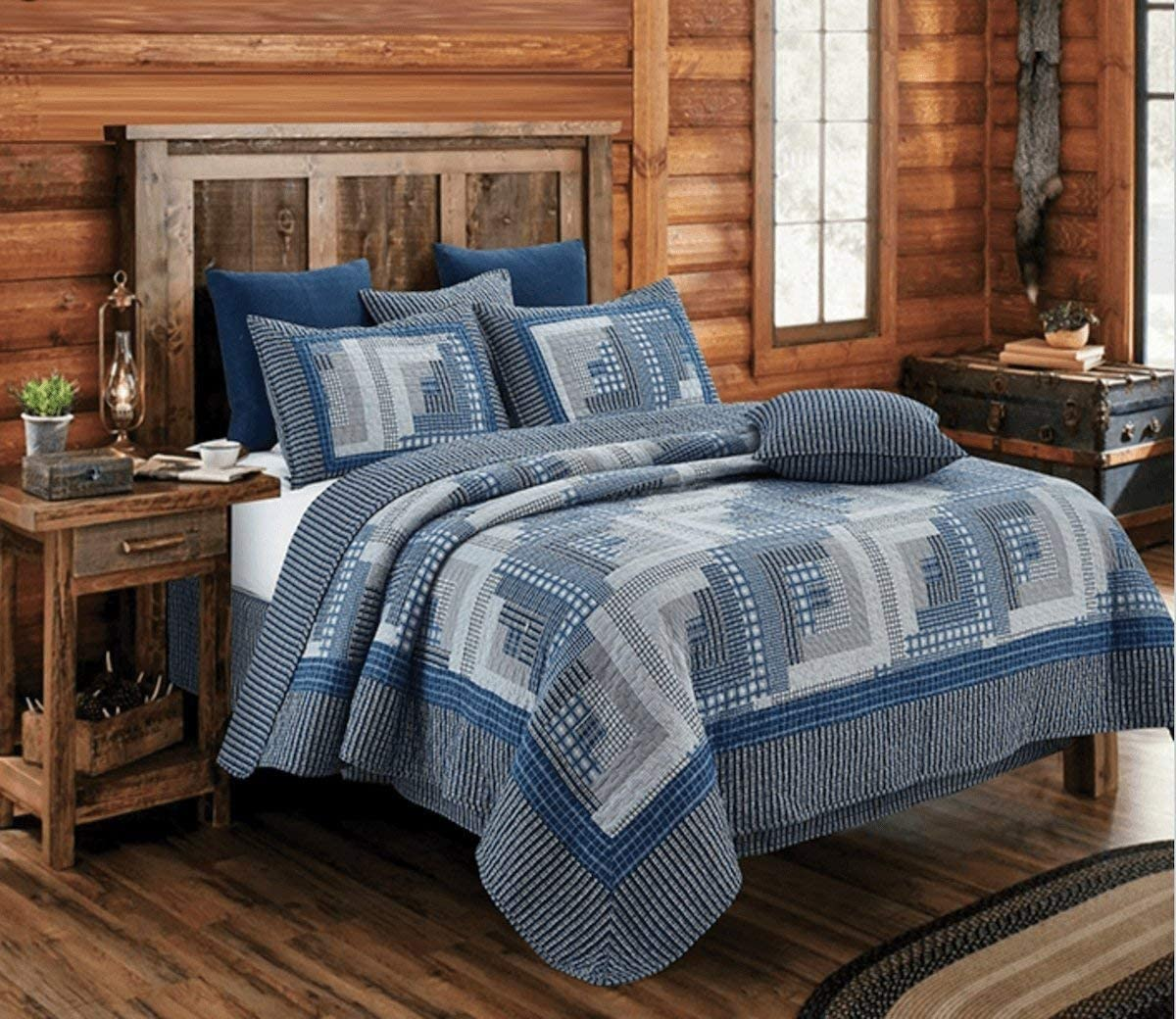 Montana Cabin Blue/Gray Quilt Set Queen