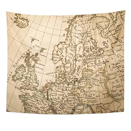 Map Of Europe 1780.Amazon Com Emvency Decor Wall Tapestry Old Antique World Map
