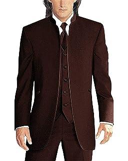 Amazon.com: botong Fashion café Oscuro Hombres Traje 3 ...