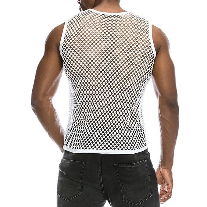 fca4bac2e52db0 Chaleco Camiseta de Malla Hombre Lencería Erótica Fishnet Transparente sin  Mangas Top Apretada Muscular Traje de Fiesta Clubwear para Hombres   Amazon.es  ...