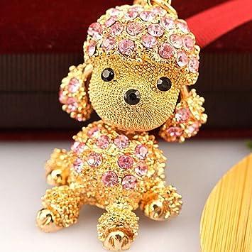 Diamantes De Imitación de Cristal Caniche Perro Llavero Cadenas Bolsa Colgante Llavero de automóvil Rosa