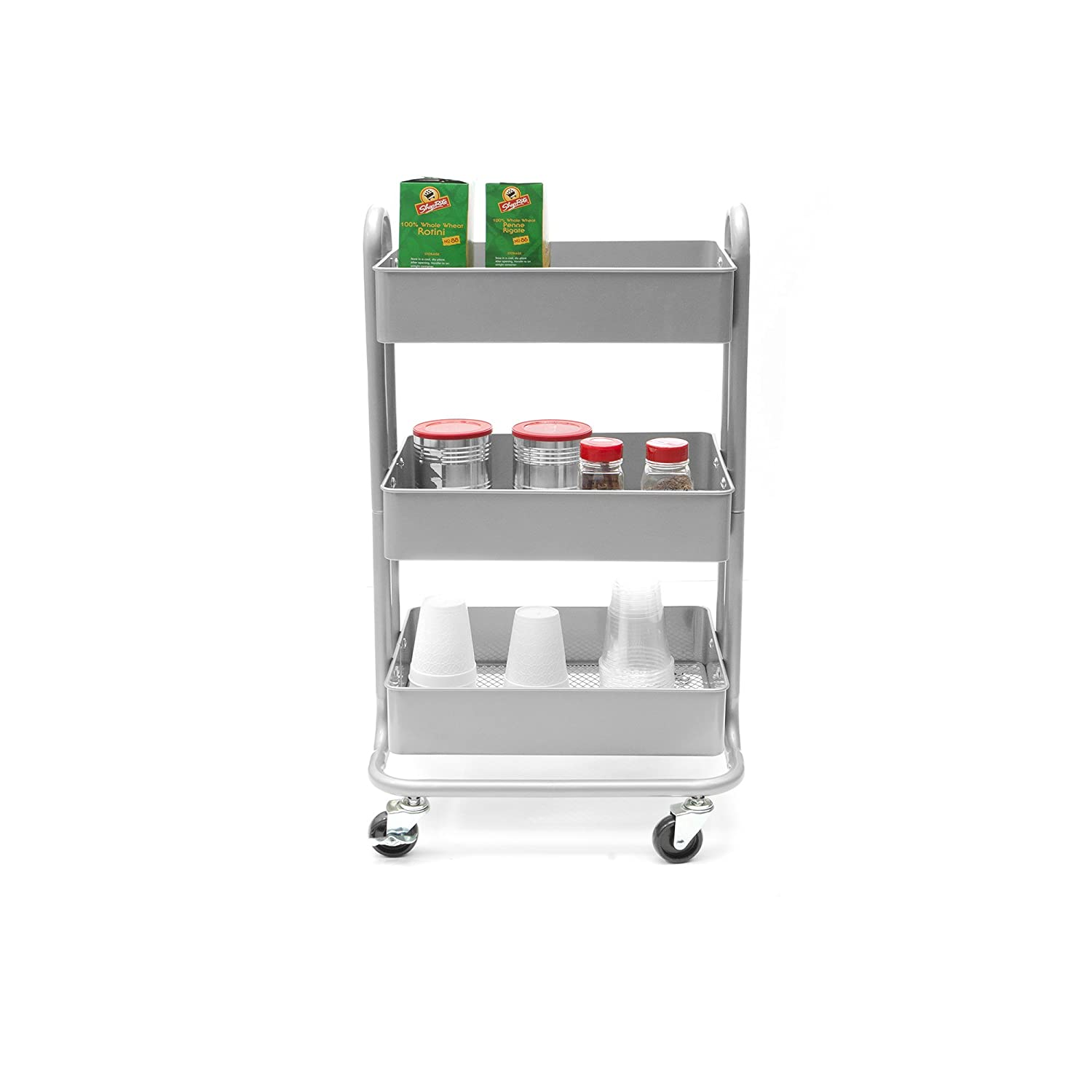 Mind Reader 3 Tier All Purpose Utility Cart, Heavy Duty, Silver