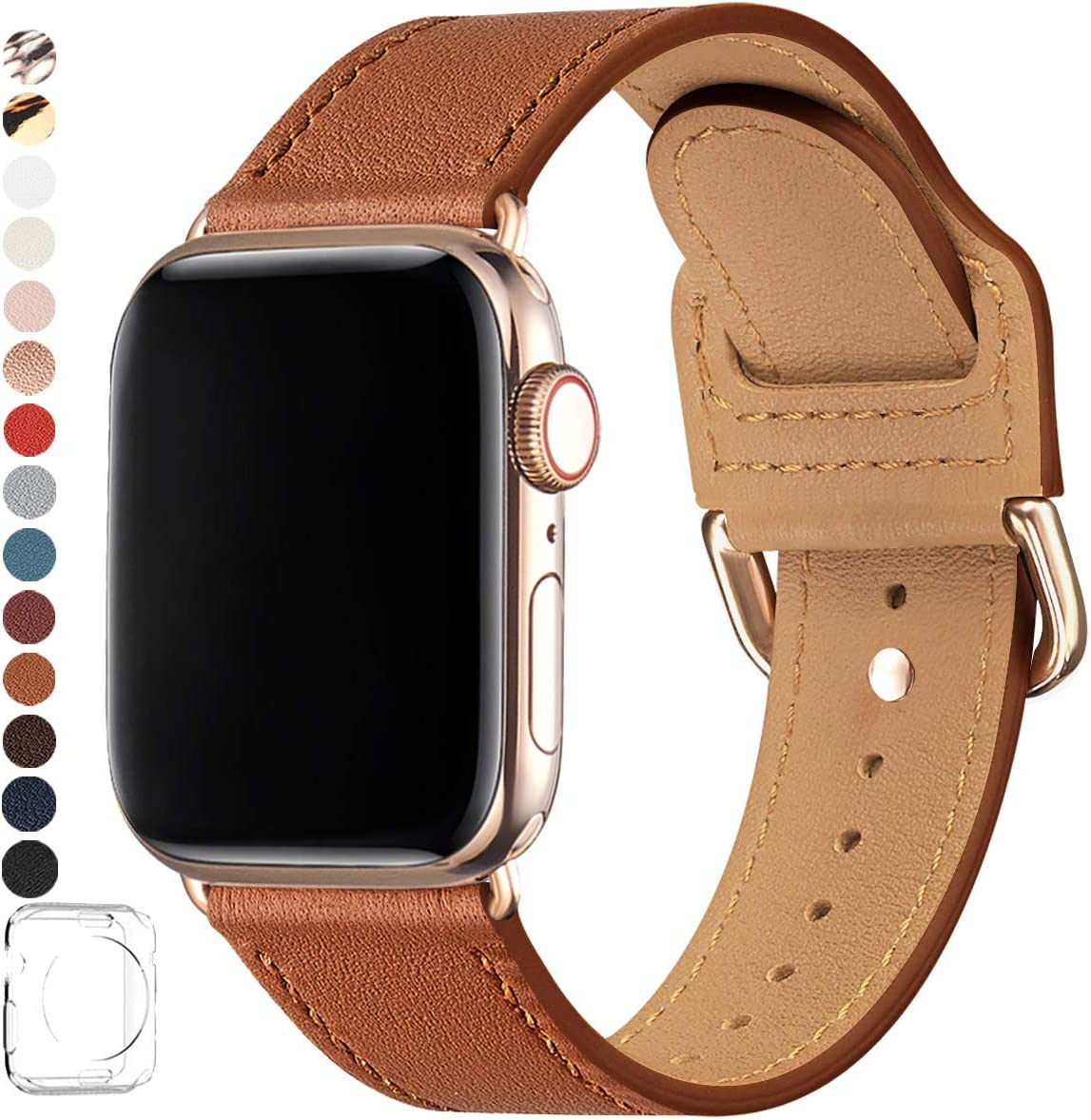 POWER PRIMACY Bands Compatible with Apple Watch Band 38mm 40mm 42mm 44mm, Top Grain Leather Smart Watch Strap Compatible for Men Women iWatch Series 6 5 4 3 2 1,SE (Brown/Gold, 42mm/44mm)